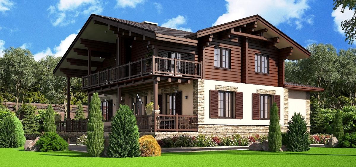 Дизайн комбинированного дома 130